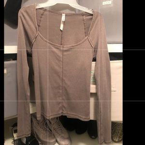 Free people long sleeve purple/silver square neck